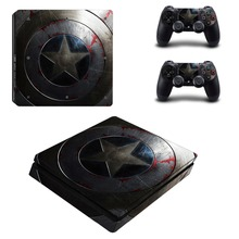 Marvel Captain America PS4 Slim Skin Sticker Decal Vinyl for Playstation 4 Console and 2 Controllers PS4 Slim Skin Sticker dharma design skin decal sticker for the playstation 3 ps3 slim console