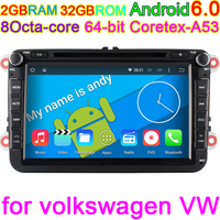 8 Inch Octa Core Pure Android 6 0 2 Din Car DVD For VW JETTA Tiguan