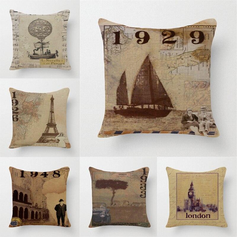 Vintage Style Decorative Throw Pillows Case Eiffel Tower Big Ben Boats Map Cotton Linen Retro Cushion