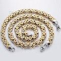 CUSTOMIZE SIZE 8MM Gold Silver Tone Mens Jewelry set Byzantine Box Stainless Steel Necklace Bracelet Chain Jewelry set  KS76