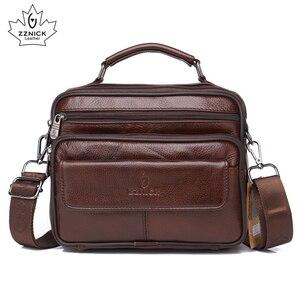 Image 1 - ZZNICK сумка из натуральной кожи мужские сумки с верхними ручками мужские сумки через плечо сумки мессенджеры маленькие повседневные сумки с клапаном мужская кожаная сумка