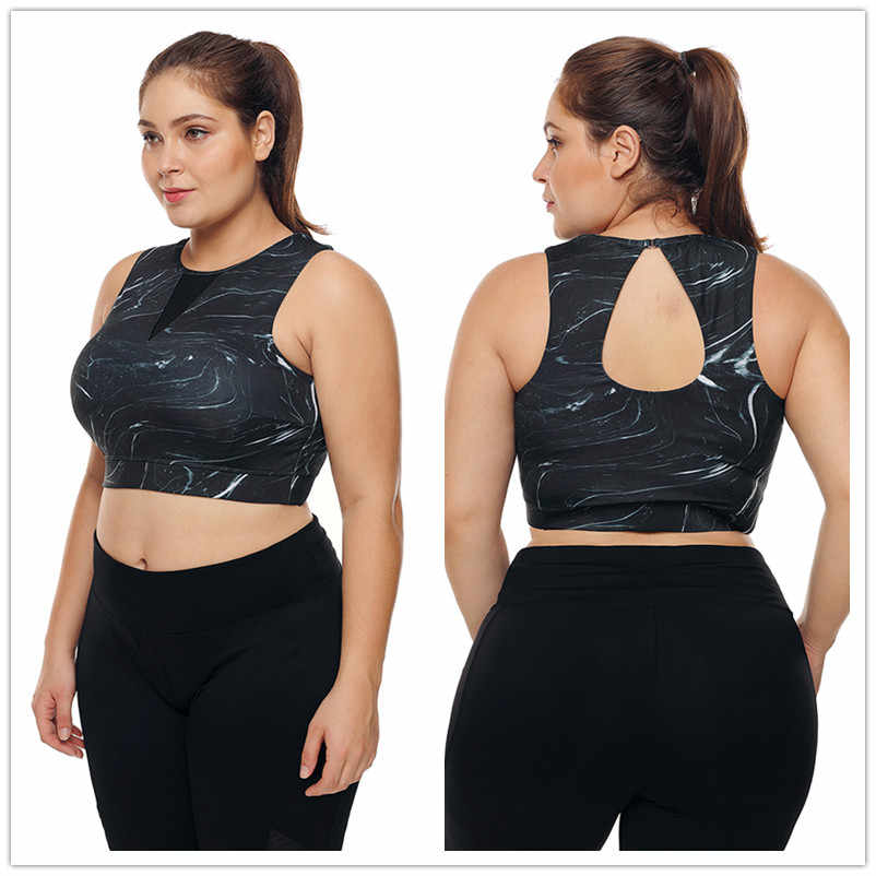 f82d23fd9aec5 Plus Size Workout Tank Top Fitness Women active wear balck Mesh Insert High  Neck Sport yoga