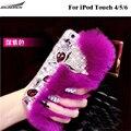 Hot Moda Rex Pele De Coelho De Luxo de Volta Casos De Pelúcia Diamante Bling cristal casos peludo saco shell capas para apple ipod touch 4/5/6