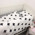 3pcs/set new design baby bedding set crib cotton bedding set black and with cross stripe pattern for baby girls boys