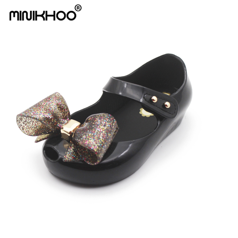 Mini Melissa Bow Tie Baby Girls Jelly Sandals 2018 Summer New Toddler Sandals Melissa Jelly Sandals Girls Shoes Soft Non-slip
