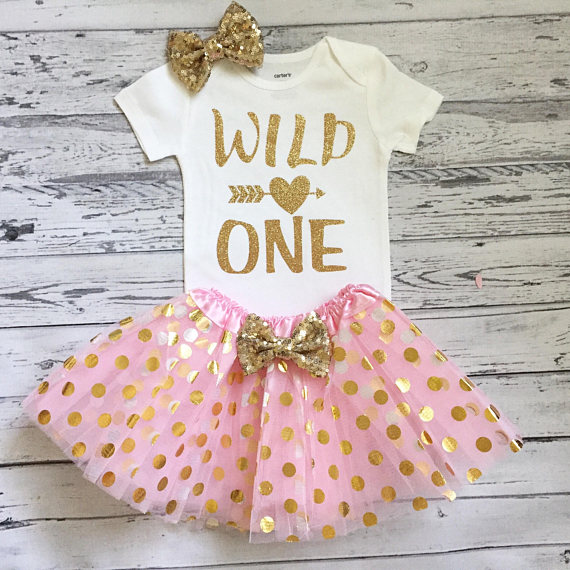 1a2c373d84d Personalize wild one first birthday bodysuit onepiece Sparkle Polka Dot  Tutu Dress romper Outfit Set baby shower party favors -in Party Favors from  Home ...