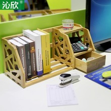 Bamboo Retractable shelves desktop bookshelf desk office bookcase shelf bookcase simple small wood bookcase
