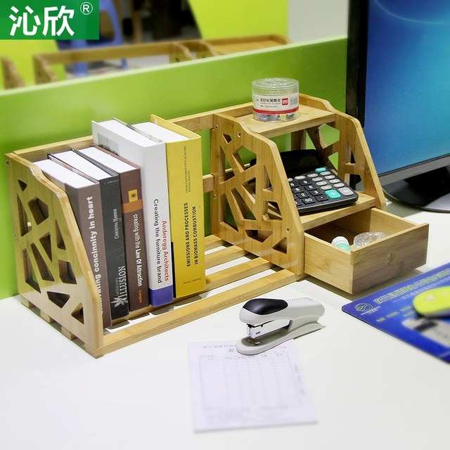 bamboo retractable shelves desktop bookshelf desk office bookcase
