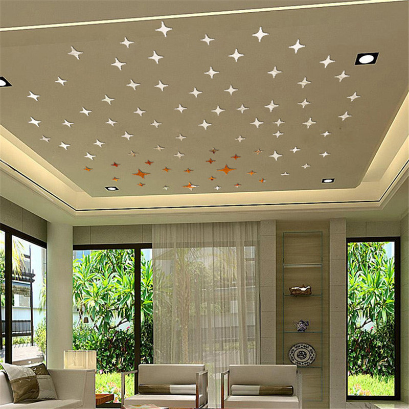 50pcs/set Mirror star shape wall sticker Acrylic silver color home ceiling wall decor sticker removable material on sale