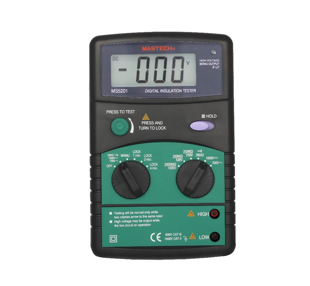 MASTECH MS5201 Digital Insulation Resistance Tester  AC/DC Voltage Detector with  Sound and Light Alarm digital megger insulation resistance tester sound and light alarm mastech ms5201