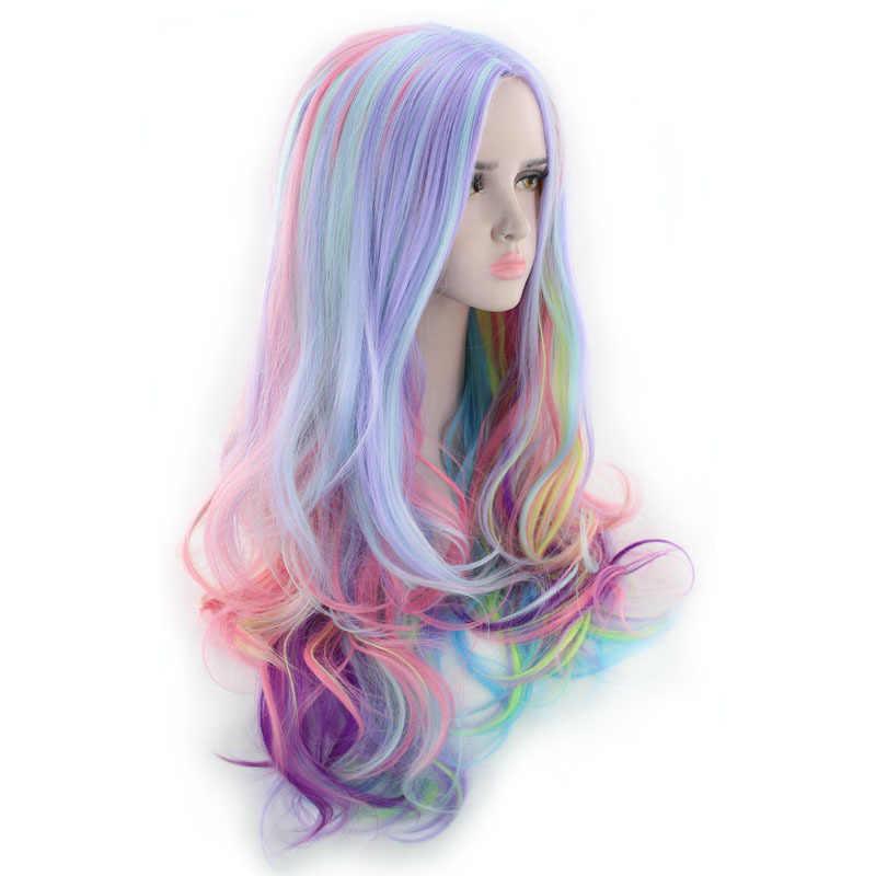 Similler костюм на Хэллоуин парики для женщин многоцветный длинный кудрявый синтетический парик вечерние Косплей высокотемпературные волокна волос 24 дюйма