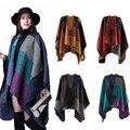 Cachecol de caxemira Xadrez Patchwork Mulheres Do Cabo Poncho Envoltório Xale Poncho Cobertor Manto