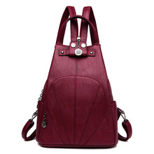 Multifunctional Leather Backpack Women Shoulder Bag Soft PU Anti Theft School Bags for Teenage Girls