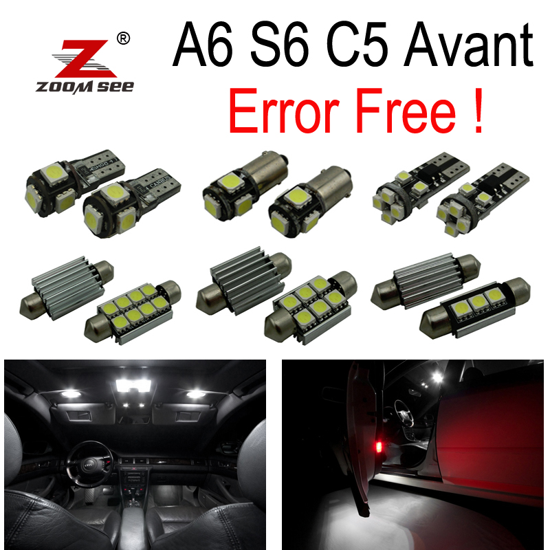 24pc x Canbus Error Free LED Interior Dome Map Light Kit Package for 1998 to 2004 Audi A6 S6 C5 Avant Wagon 16pcs xenon white premium led interior map light kit license plate light error free package for mazda 626 1998 2002
