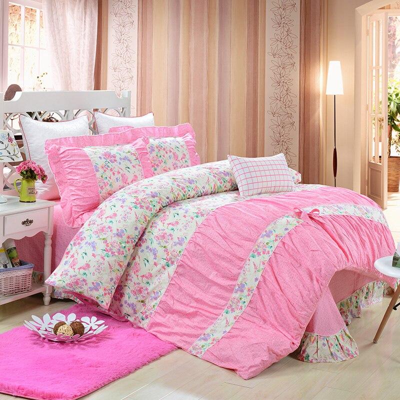 yadidi 100 cotton classic princess polka dot girls bedding sets bedroom bed sheet duvet cover. Black Bedroom Furniture Sets. Home Design Ideas