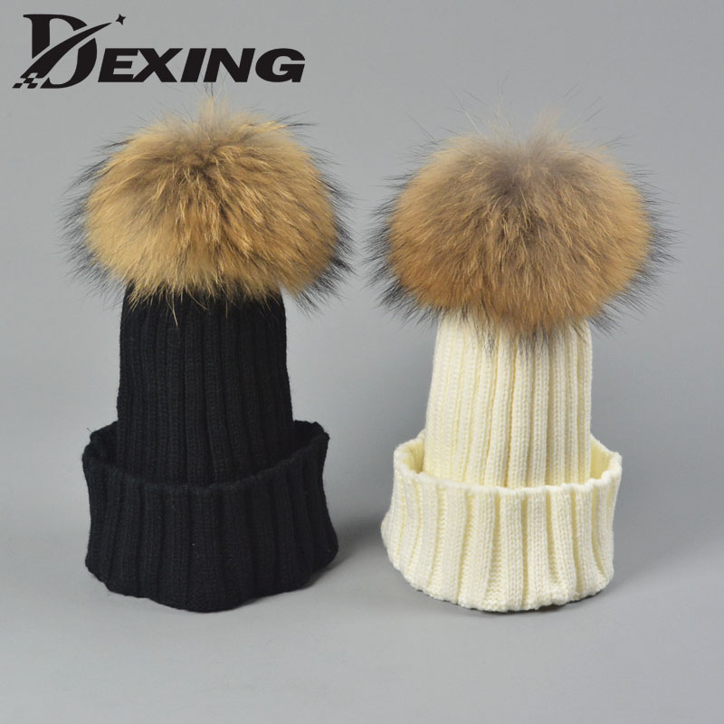 [Dexing] Cute Kids real fox Fur Pompom Hat Baby Boys Girls Winter  Beanie Hats Wool Knitted Warm Caps For Children bonnet enfant new star spring cotton baby hat for 6 months 2 years with fluffy raccoon fox fur pom poms touca kids caps for boys and girls