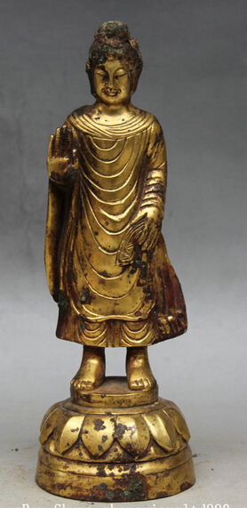 xd 002576 9 Old Tibet Buddhism Bronze 24K Gold Stand Shakyamuni Amitabha Buddha Statuexd 002576 9 Old Tibet Buddhism Bronze 24K Gold Stand Shakyamuni Amitabha Buddha Statue