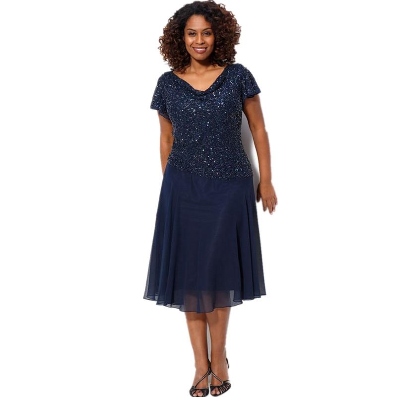 navy blue plus size women formal dress short sleeves sequin top