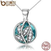 BAMOER Trendy Authentic 925 Sterling Silver Green Crystal CZ Tree Of Life Pendant Necklaces For Women