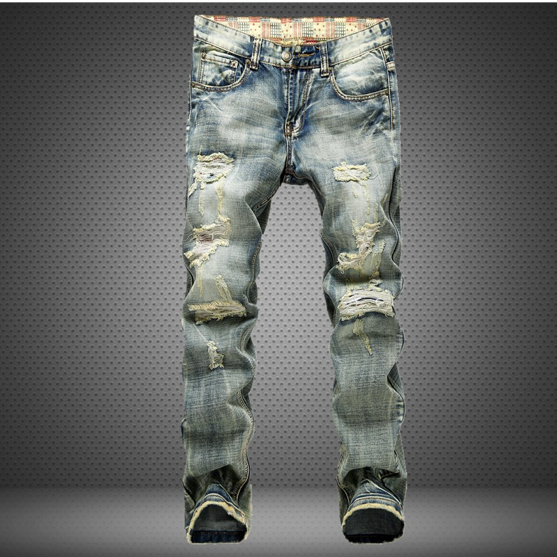 Fashion retro vintage male broken hole distressed beggar denim jeans full length mid waist street wear
