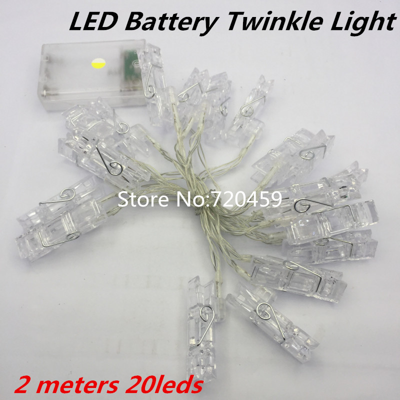 LED Twinkle Light 2 meters 20 lighting Battery Powered Picture Lights string light flasher decoration lamp Christmas Home Decor
