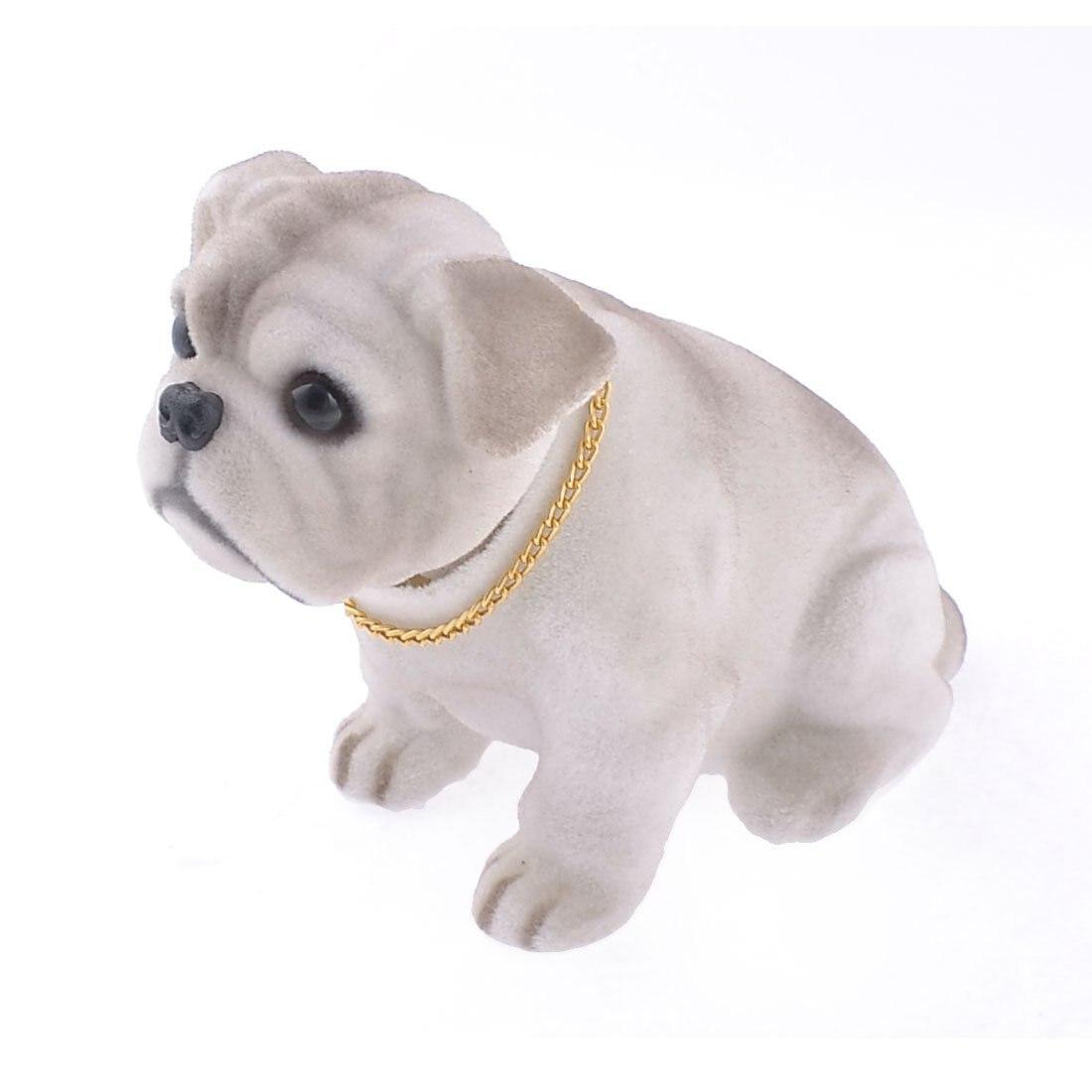 White Light Gray Shaking Head Nodding Bulldog Dog Decoration for Car