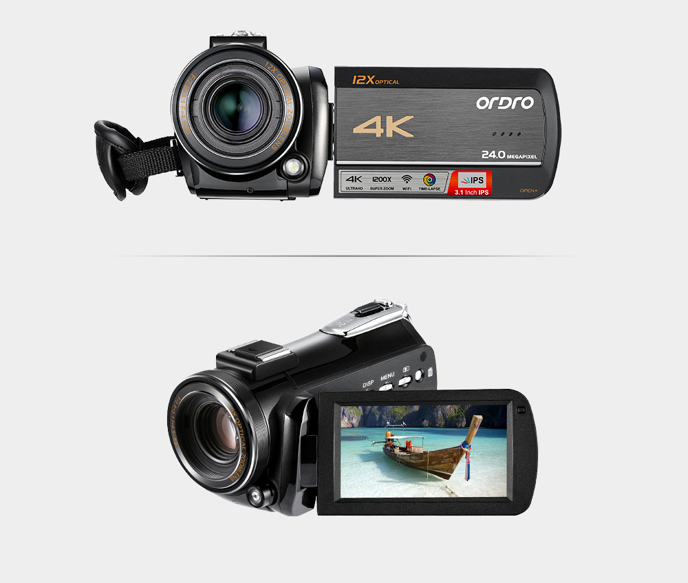 Ordro AC5 4K UHD Digital Video Cameras Camcorders FHD 24MP WiFi IPS Touch screen 100X Digtal Zoom 12X Optical DV Mini Camcorders 26