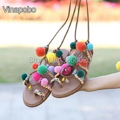 Brand Designer Colorful ball & Fringe Pompon Style Thong Flip Flops Lace Up Tassels Gladiator Sandals Woman Summer Casual Shoes