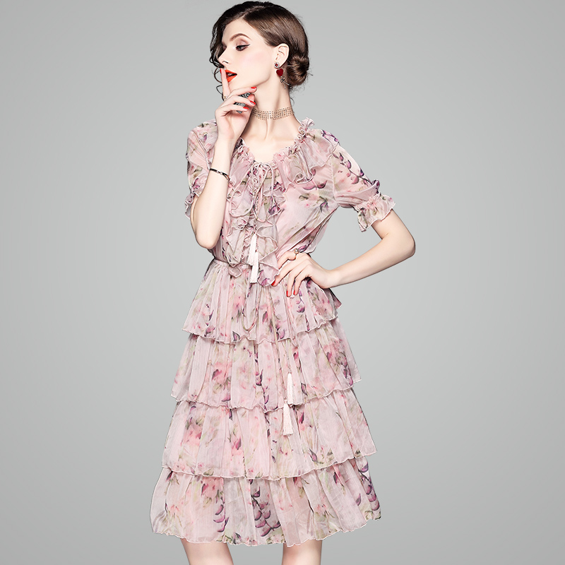 V Neck dress 2019 new summer Printing Floral Short sleeve dresses ladies fashion Runway Women Sweet