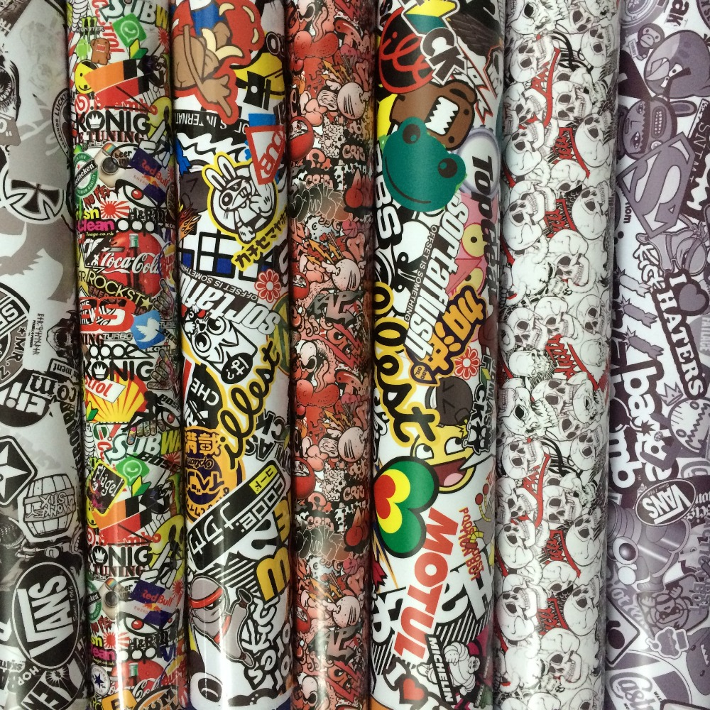 13 kinds Stickerbomb Vinyl Wrap Stickers Adhesive Cartoon Skull JDM Printed Motorcycle Scooter Racing Car Wrapping Film Air Free wrap around sizing label 33x32 250 stickers