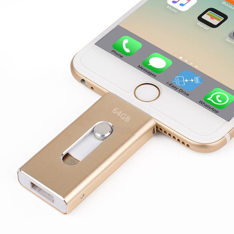 Comercio al por mayor pen drive 128 GB 64 GB 32 GB 16 GB metal USB OTG iflash Drive HD Unidades Flash USB para iPhone IPad iPod IOS teléfono Android