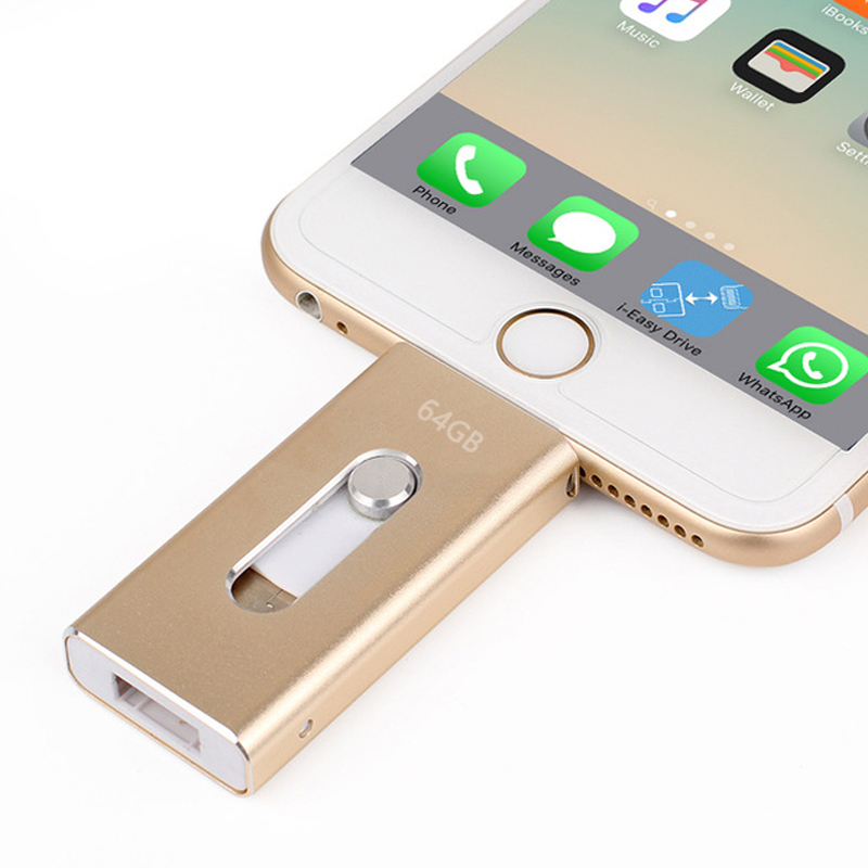 Wholesale Pen drive 128GB 64GB 32GB 16GB Metal USB OTG iFlash Drive HD USB Flash Drives for iPhone iPad iPod iOS Android Phone