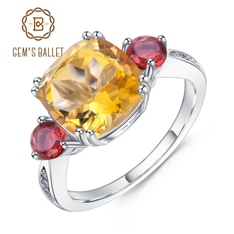 GEM'S BALLET Pure 925 Sterling Silver Geometric Wedding Rings 4.83Ct Natural Cute Citrine Garnet Gemstone Ring for Women Jewelry