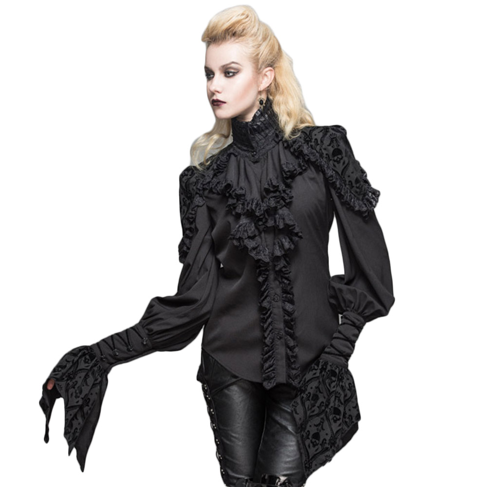 Gothic Women Lotus Ruffle Shirts Lolita Retro Lace Sleeve Party Black Blouses Stand Collar Polyester Formal