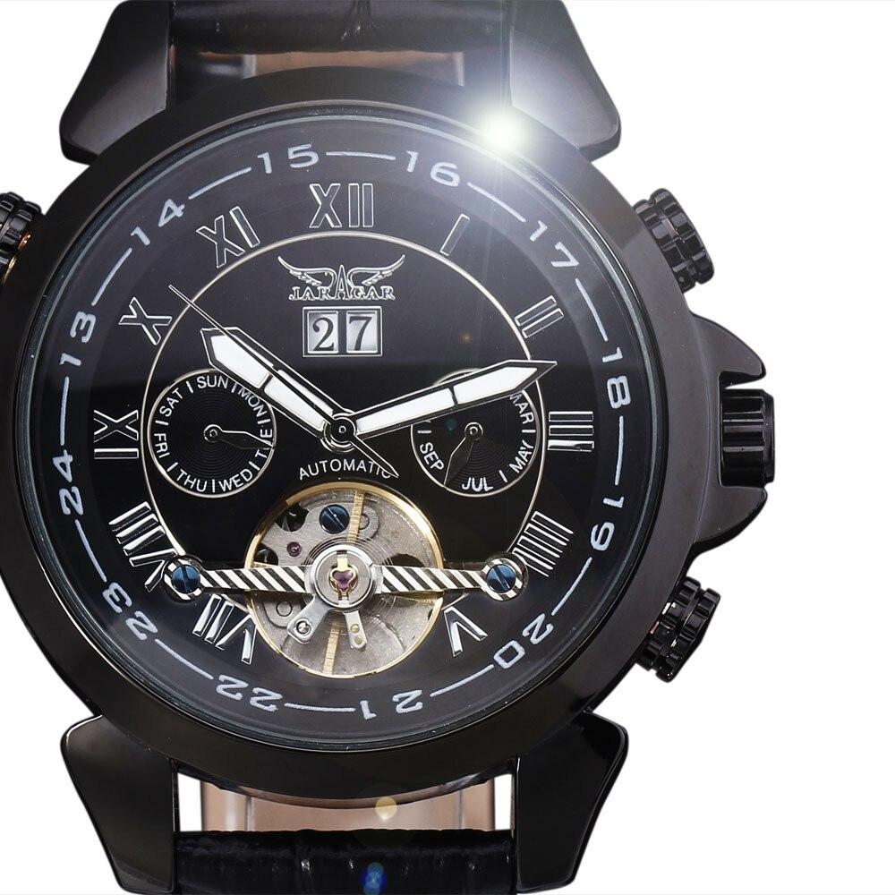 65f1f87f6778 Top marca de lujo jaragar hombres reloj mecánico Calendarios mes semana  dial cuero de lujo tourbillon automático Relojes