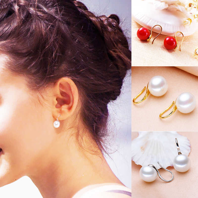 Fashion 2PCS/Pair Graceful Red Pearl Allergy Free Alloy Simple Silvery Golden Stud Earrings Fashion Jewelry Graceful Women Girls