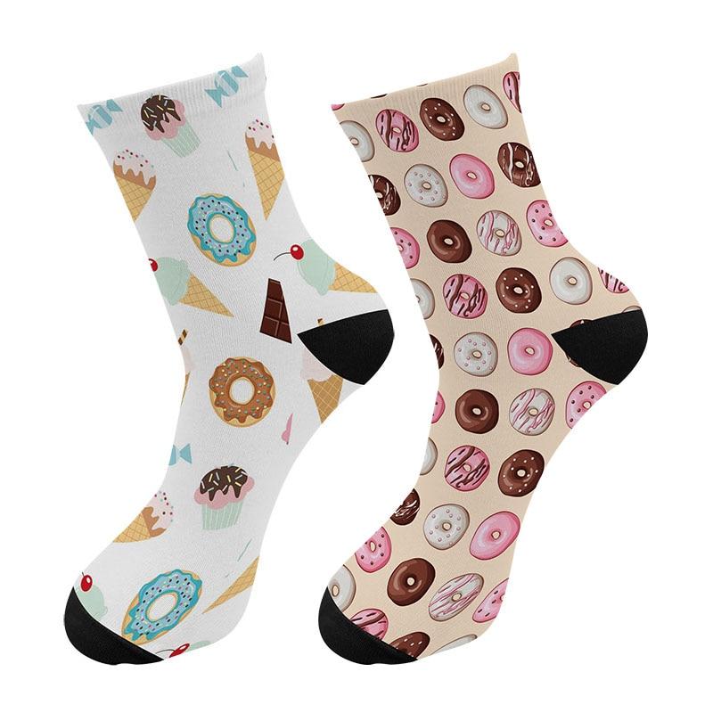 New 3d Printed Cartoon Summer Ice Cream Men Crew   Socks   Cute Kawaii Macaron Donuts Long   Socks   Street Trend Bread Tube   Socks