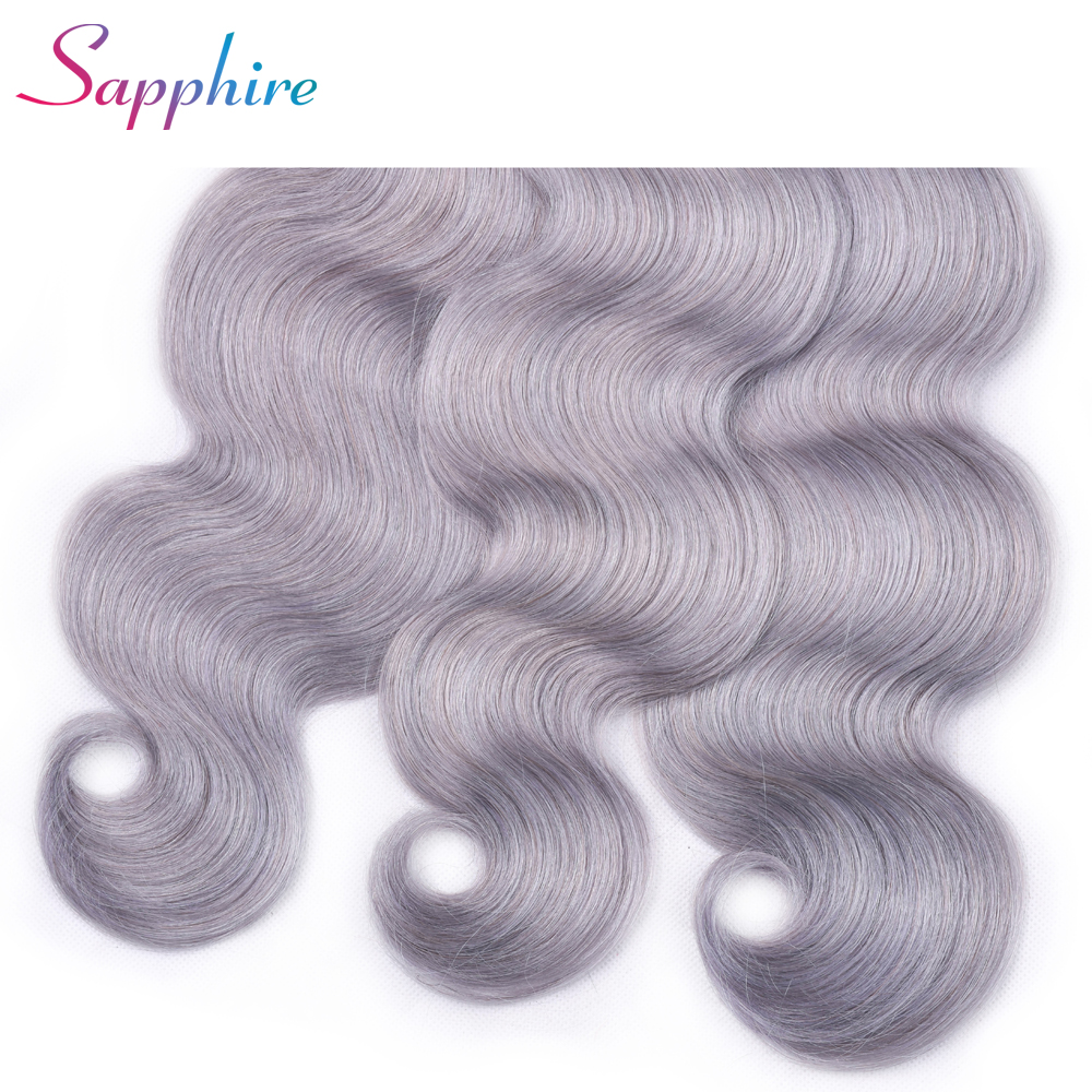 Sapphire Peruvian 13x4 Pre Plucked Ear To Ear Grey Color Body Wave Lace Frontal Closure Free Part Remy 100% Human Hair Closures