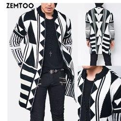 Модный мужской облегающий вязаный кардиган с геометрическим рисунком, свитер