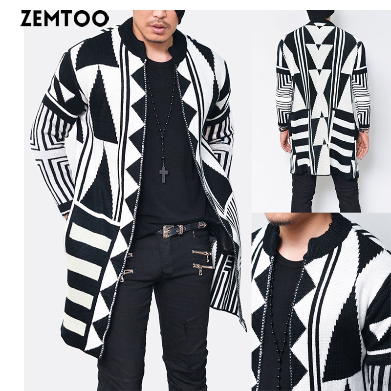 Fashion Men Slim Fit Knitted Geometric Cardigan Sweater