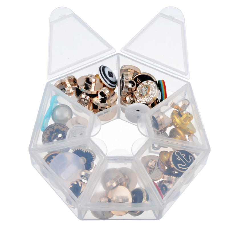 FUNIQUE New Style 2 Beads Storage Containers Jewelry Packaging & Display Storage W/7 Compartments Jewelry Box 8.5x8.5x2cm