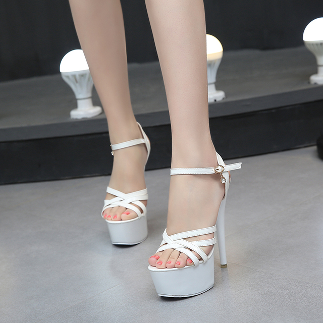 15cm High-Heels Waterproof Thick Bottom Sequins Thin Heels Model Car Show Nightclub Sandal 4