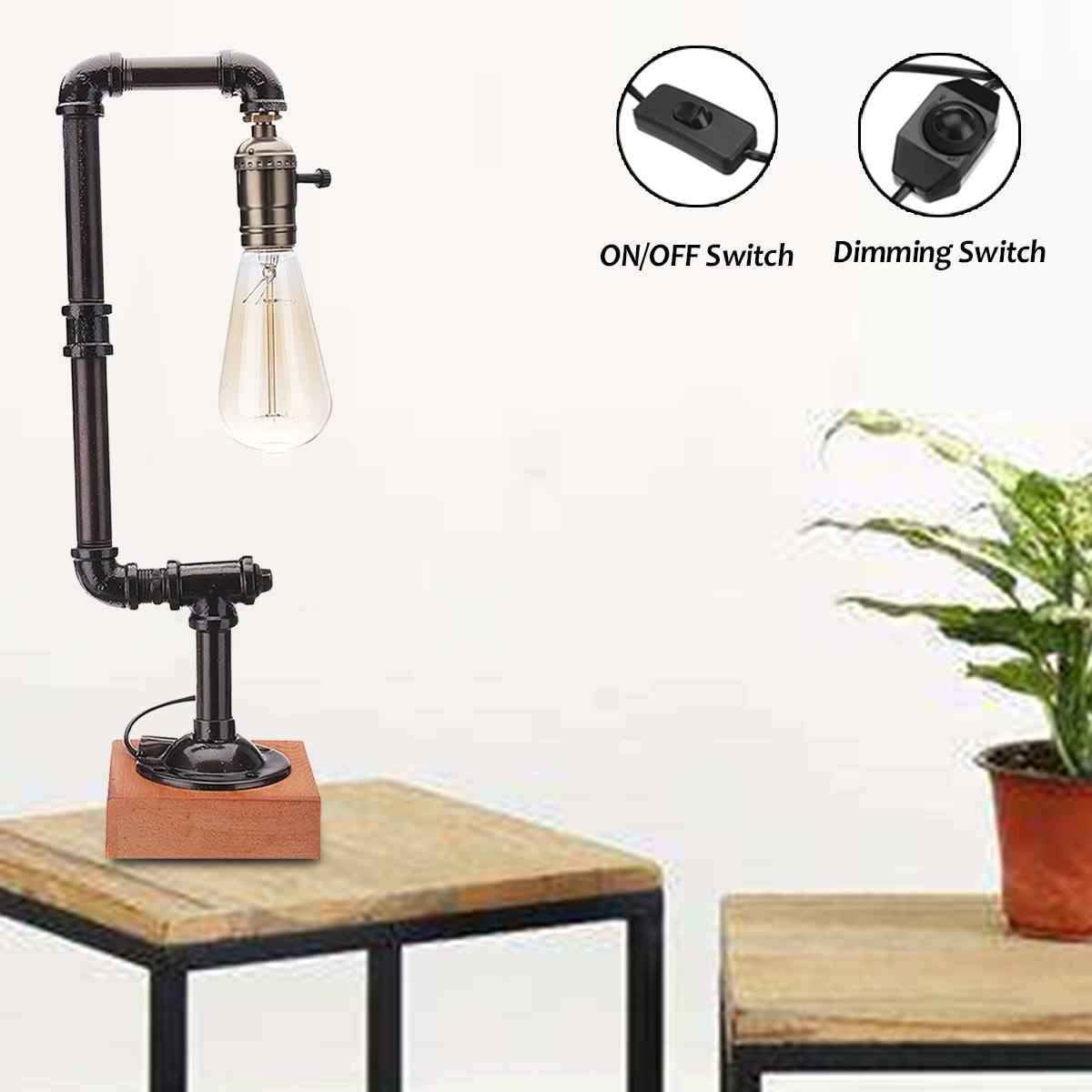 E27 Retro Industrial Style Iron Water Pipe Desk Table Lamp Light Switch Lighting For Kids Learning Home Bedroom Decor