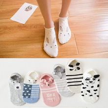 Korean female kawaii 3D Harajuku animal casual pattern pink pig / dog cat summer wild cotton shirt cute funny socks