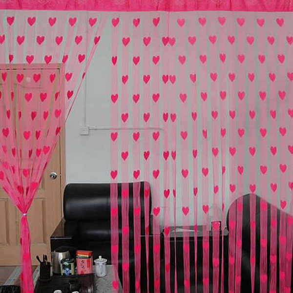 Durable Tools Novelty Heart Decor Window Room Line Curtain String Tassel Door Curtain Divider String Curtain
