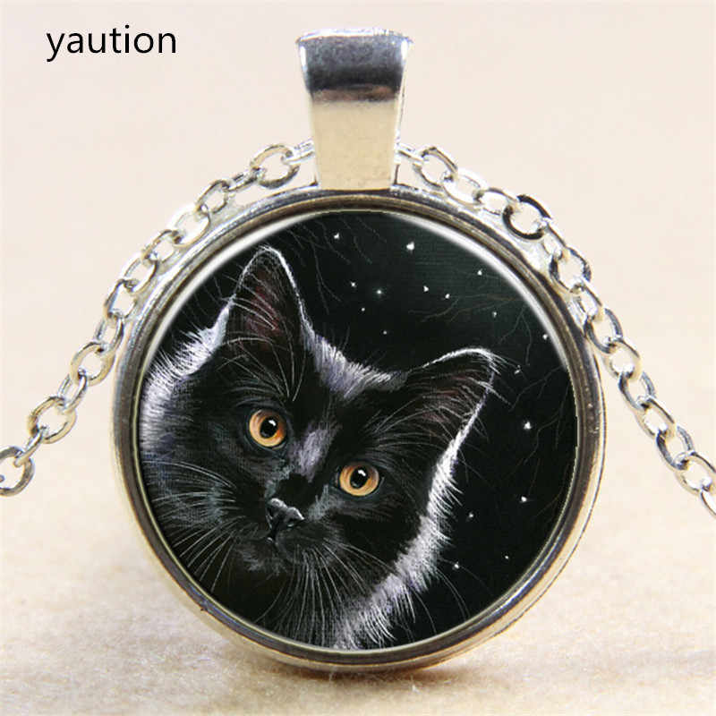 Hot! Night Sky Under Black Cat Pendant Necklace Antique 3/Color Chain Glass Necklace Vintage Jewelry Gift For Women Men