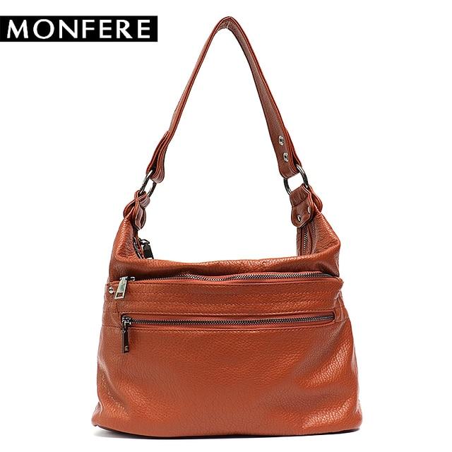 35e795ff2f53 MONFERE Ladies Handbags Women Faux Leather bags Satchels Multi Zipper  Pockets Messenger Bag Soft Small Cross body Shoulder Bags-in Shoulder Bags  from ...