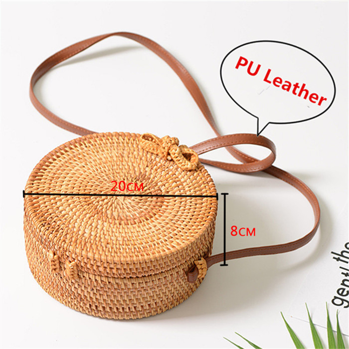 18 Round Straw Bags Women Summer Rattan Bag Handmade Woven Beach Cross Body Bag Circle Bohemia Handbag Bali 2