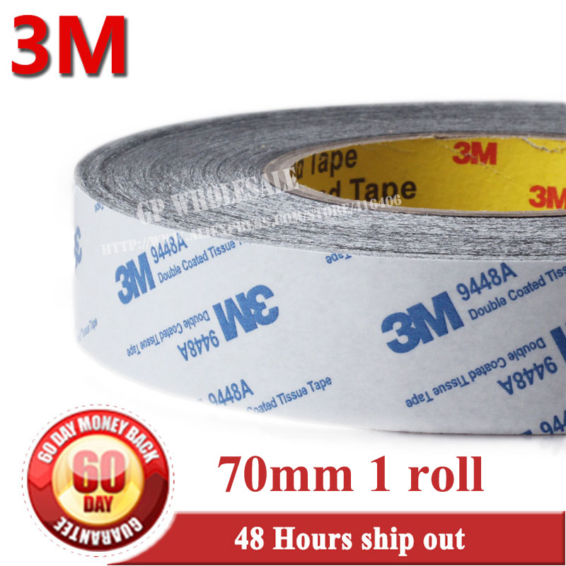 70mm*50M*0.15mm Original 3M 9448 Tissue Fabric Double Adhesive Black Tape for Windows Screen Foam Bond, High Temperature Resist 45mm 50m 0 15mm 3m9448 white double coated adhesive tissue tape high temperature resist widely use