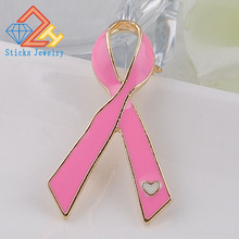 Pink Ribbon Brooches Gift of Propaganda Against AIDS Red to Prevent Breast Cancer